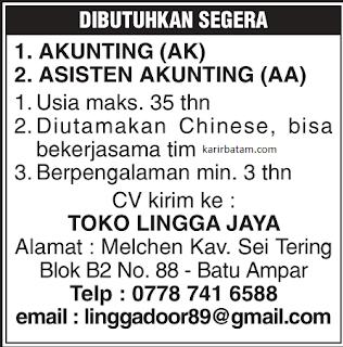 Lowongan Kerja Toko Lingga Jaya