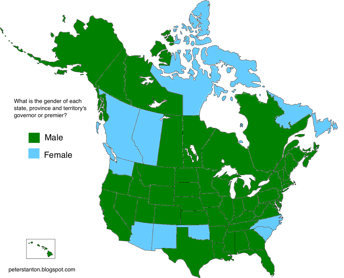 Gender Of US And Canadian Governors And Premiers - Us gender change map