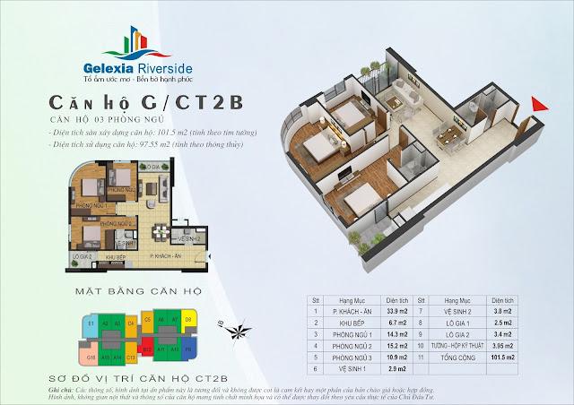 Thiết kế căn hộ G - 3 phòng ngủ tòa CT2B - CT3 Gelexia Riverside