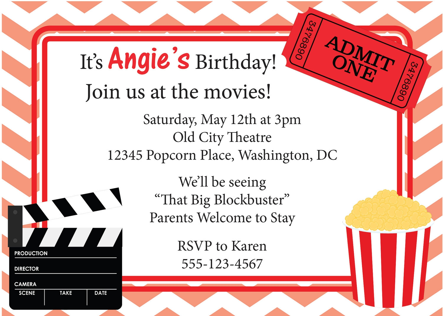 Lively image throughout free printable movie ticket invitations