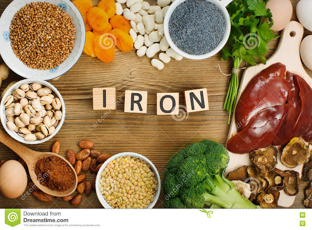 What fruits and vegetables have a high percentage of iron?