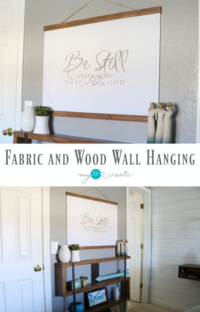 Create a beautiful fabric and wood wall hanging with this easy picture tutorial at MyLove2Create