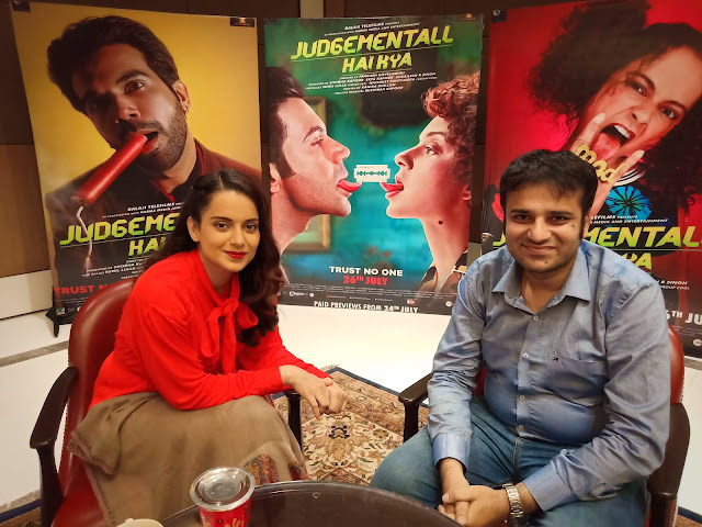 Film Critic Murtaza Ali Khan with actress Kangana Ranaut, Judgementall Hai Kya