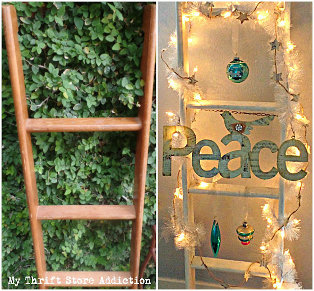 vintage linen ladder upcycle