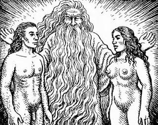 O Deus todo poderoso em forma humana com barba branca e  farta e um semblante de infinito amor e bondade