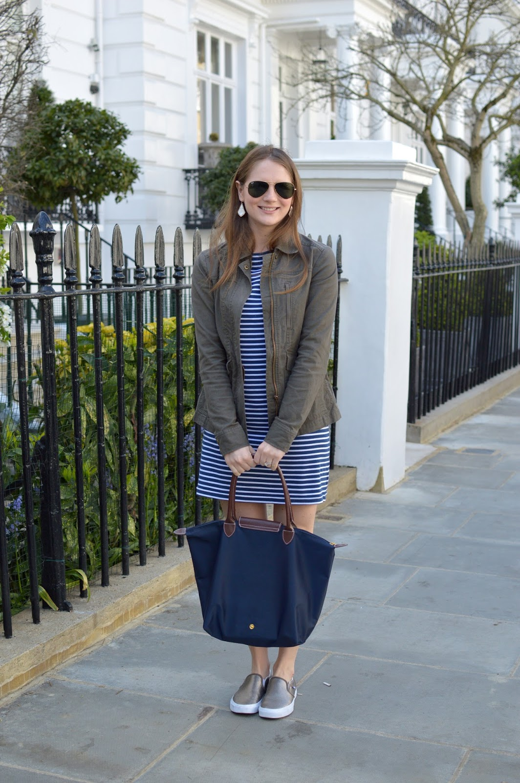 navy longchamp tote | a memory of us | spring outfits | gold vans | what to wear with vans | how to style a t-shirt dress | spring layers