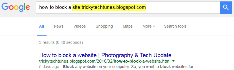search google on a specific website