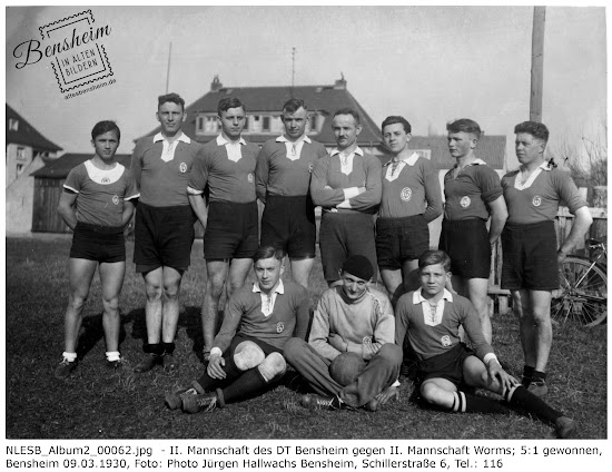 Turnverein Bensheim 1862, 9. März 1930, Sieg der 2. Mannschaft gegen Worms  5:1, Nachlass Egon Stoll-Berberich, Bensheim