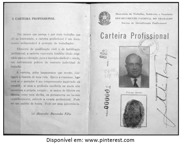 a primeira Carteira de Trabalho do Brasil, número 000001, pertencente ao então Presidente da República, Getúlio Dornelles Vargas, durante o Estado Novo