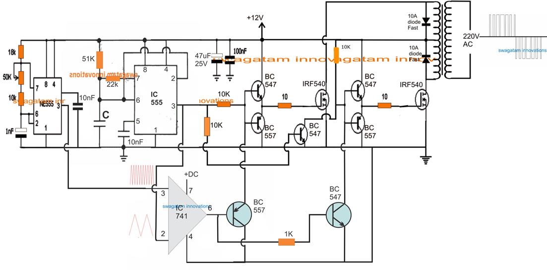 SPWM Inverter Circuit using IC 555 ~ Electronic Circuit