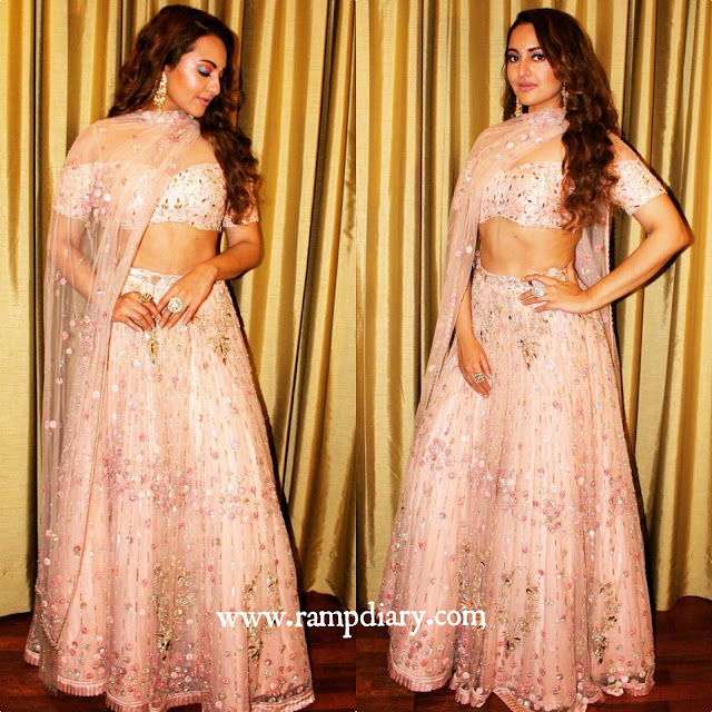 Sonakshi Sinha in Monika Nidhi for a Recent Wedding