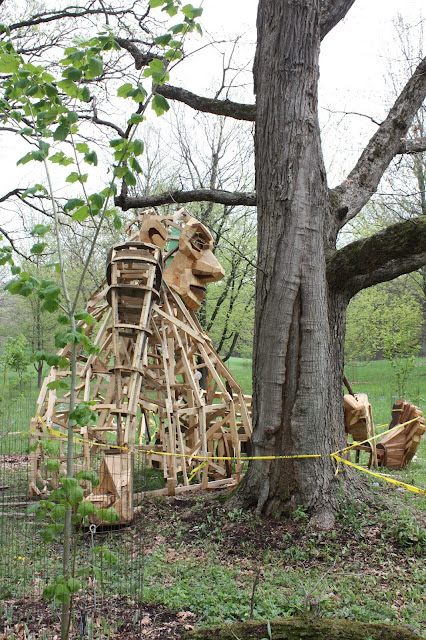 Troll Hunt trolls being constructed from reclaimed wood at The Morton Arboretum