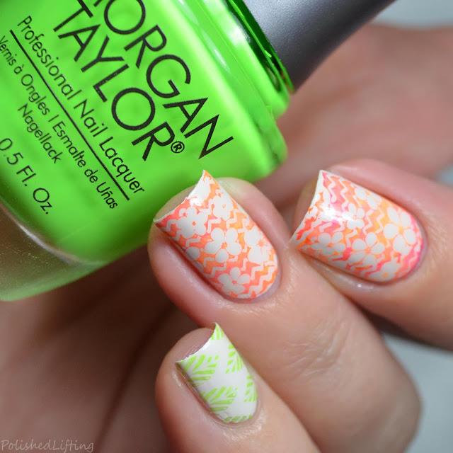 floral gradient nail art