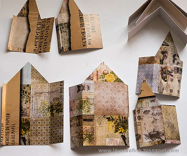 Layers of ink - Word Village Tutorial by Anna-Karin using Sizzix Tim Holtz Tiny Houses die.