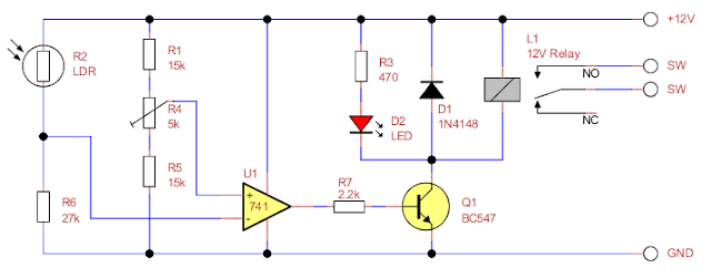 Dark activated relay