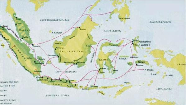 Peta Penyebaran Islam di Indonesia dan Penjelasannya Lengkap