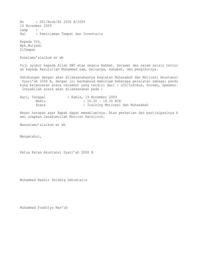 contoh surat peminjaman tempat - wood scribd indo