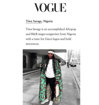 Tiwa Savage highlights in Vogue Magazine's 10 world most in vogue big names on IG