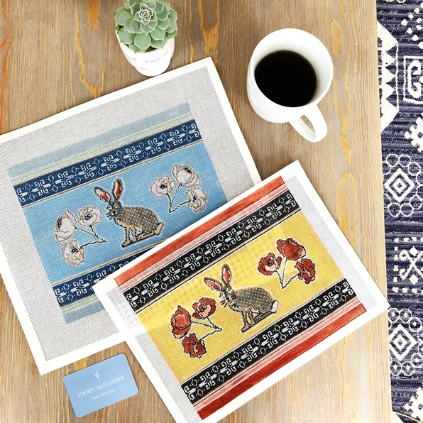 Jack rabbit handpainted needlepoint canvases by Thorn Alexander in two colourways, blue and yellow