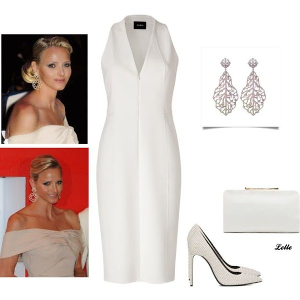 Princess Charlene of Monaco wears Akris hite sleeveless satin dress, leaf silver diamond earrings
