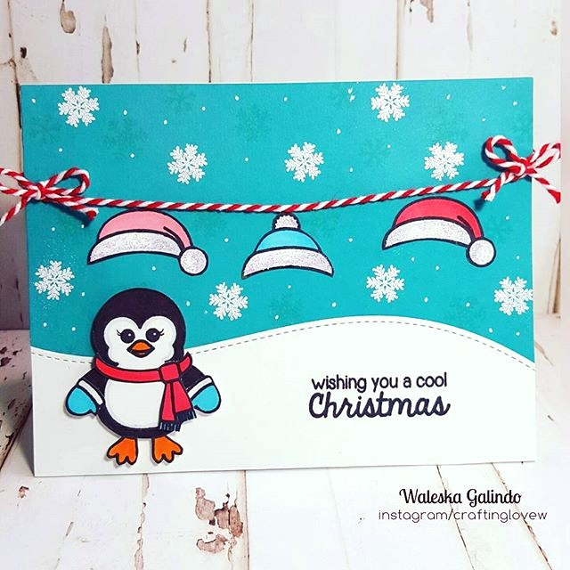 Sunny Studio Stamps: Bundled Up Penguin Christmas Card by Waleska Galindo