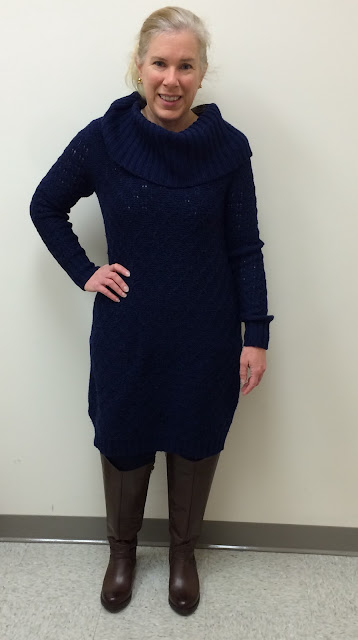 anthropologie cowled sweater dress sparrow fashion after 40