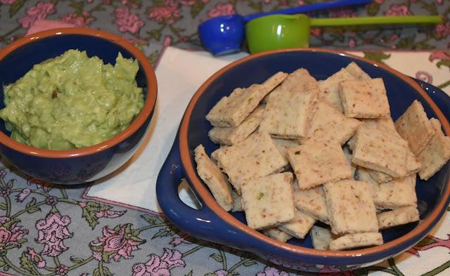 Almond Jalapeño Crackers- with Guacamole- Gluten free snack