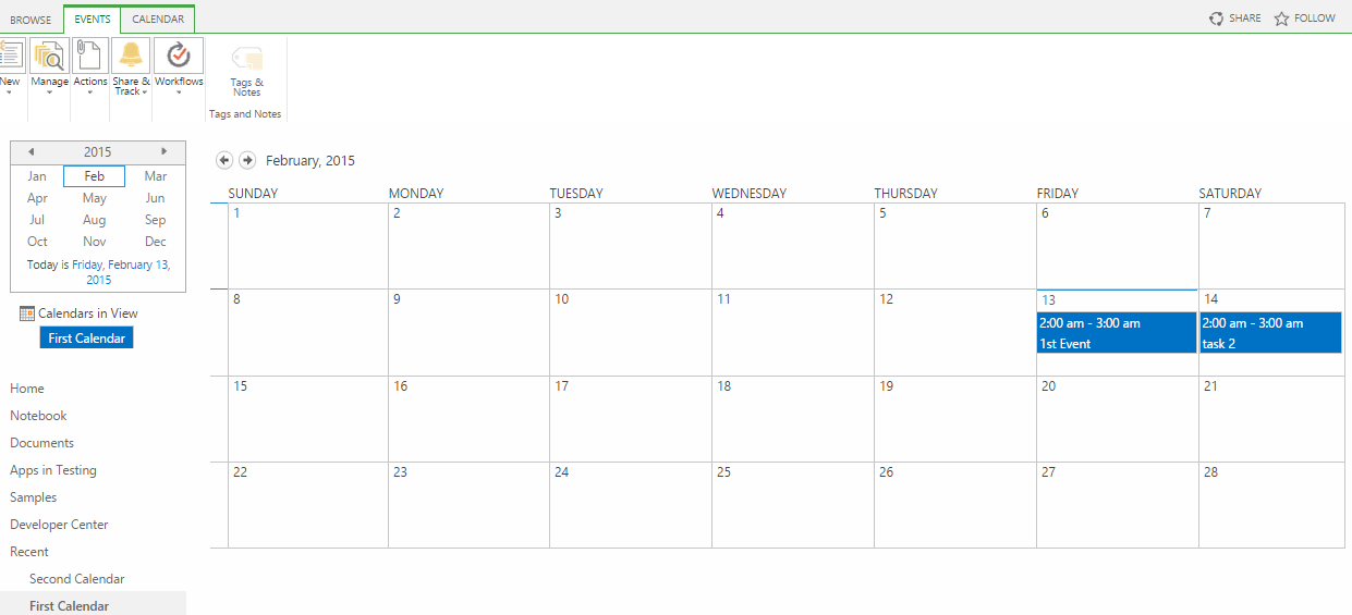Merge Calendar Events with another Calendar in SharePoint