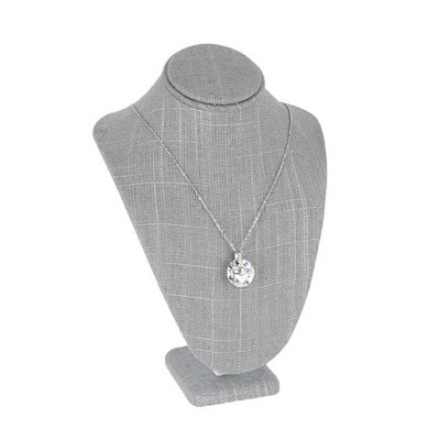 The Gray Burlap Linen Necklace Display Bust is perfect for bridal necklaces | NileCorp.com