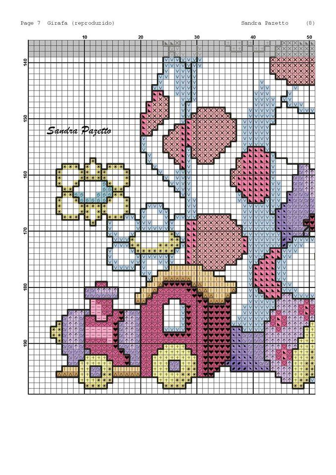 Lo spazio di lilla schemi punto croce la simpatica for Giraffa punto croce