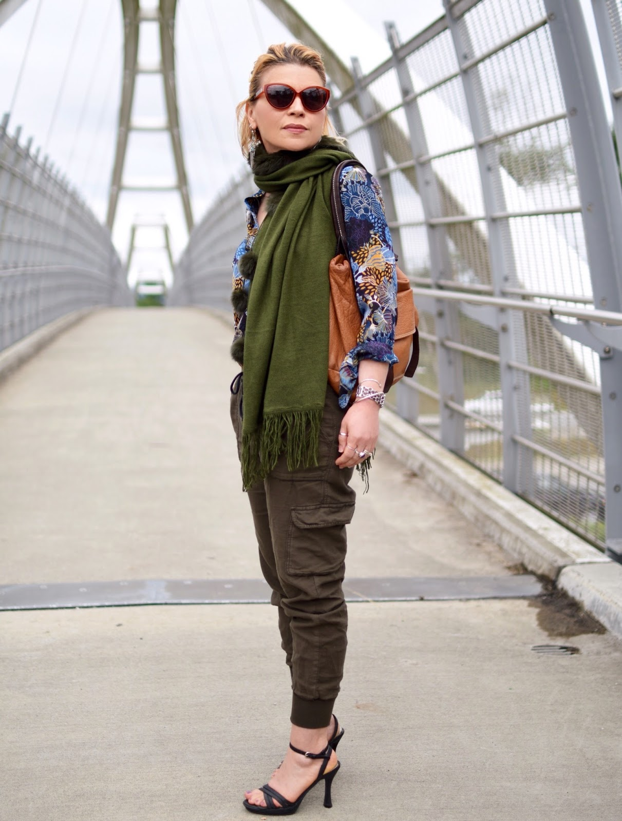 Replacements:  slouchy cargos, floral blouse, pompom scarf, and ankle-strap sandals