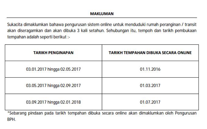 Jadual Tarikh Tempahan RPP 2017