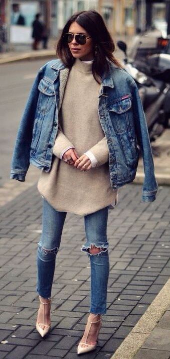 nude and denim inspiration   jacket + sweater + rips + heels
