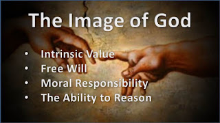 The Image of God, Intrinsic Human Value , Free Will (the ability to choose other than what we do choose), Moral Responsibility (objective obligations and duties), and the ability to reason (possess knowledge). #Anthropology #Psychology #HumanOrigins