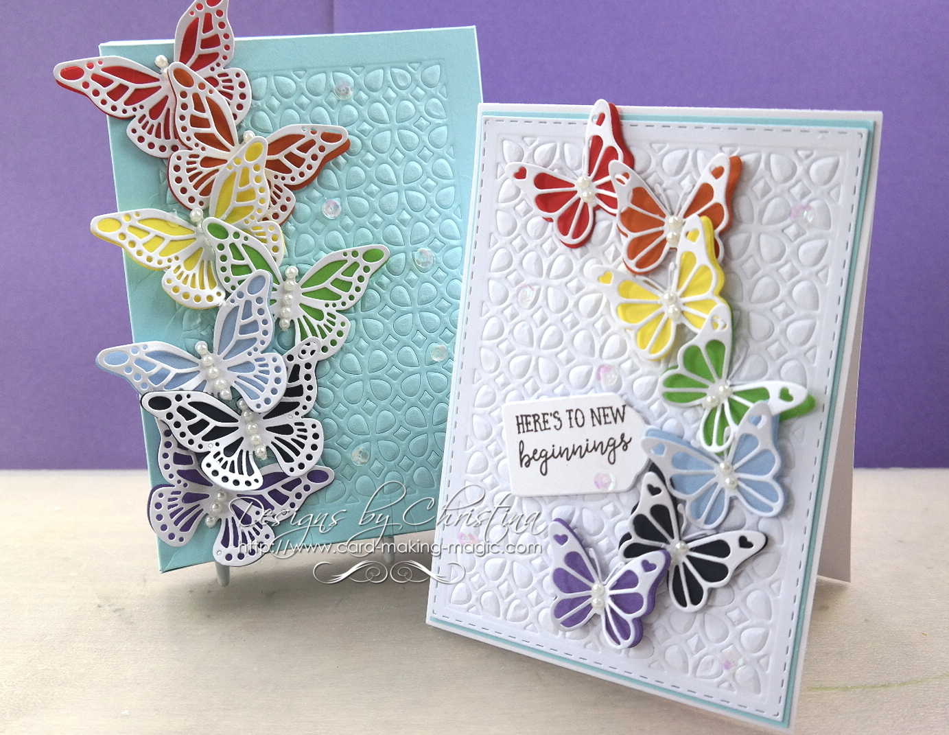 Flowers Ribbons And Pearls Layered Butterflies Card Making Magic