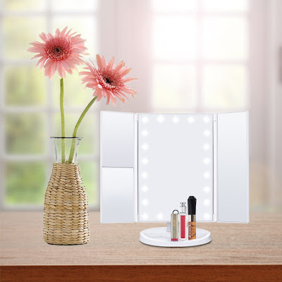 HAMSWAN Espejo Maquillaje Tríptico con Aumentos 1x, 2x, 3x Pantanlla de Táctil y Iluminacíon 21 Led Carga con Cable o Batería Ajustable 180º Plegable Espejo Cosmético Maquillaje