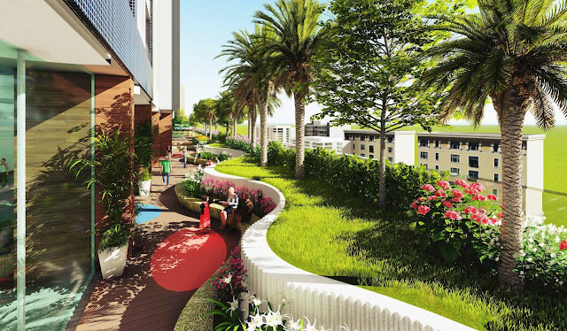 khuôn viên xanh the golden palm