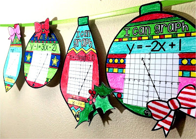graphing linear equations ornaments Christmas Algebra activity