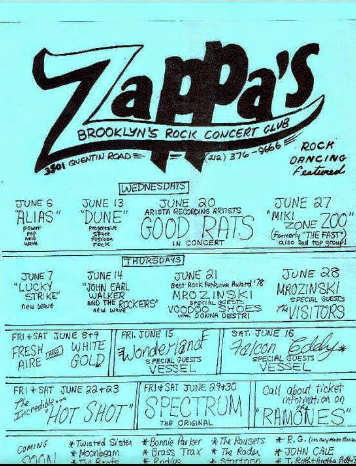 Zappa's rock club calendar