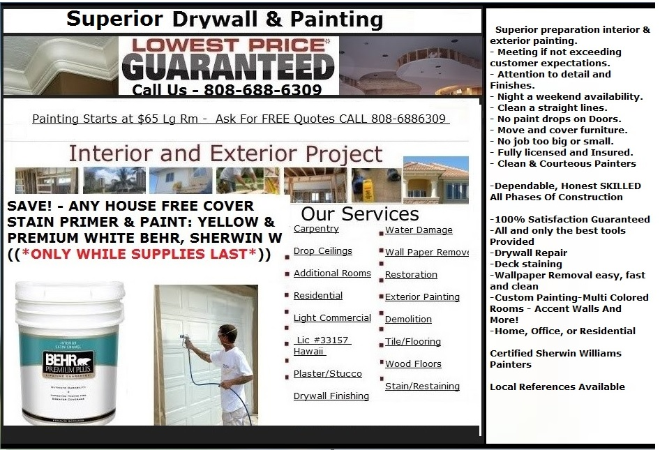 Painters Oahu - Painting Company Honolulu Hawaii
