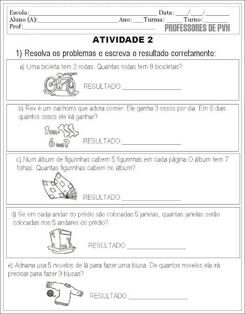 Professores De Porto Velho Por Val Barreto Atividade 10 Problemas De Matematica Ilustrados Para 2º E 3º Ano