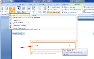 format halaman pojok atas ms word