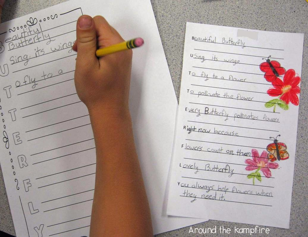 Butterfly craft with acrostic poems