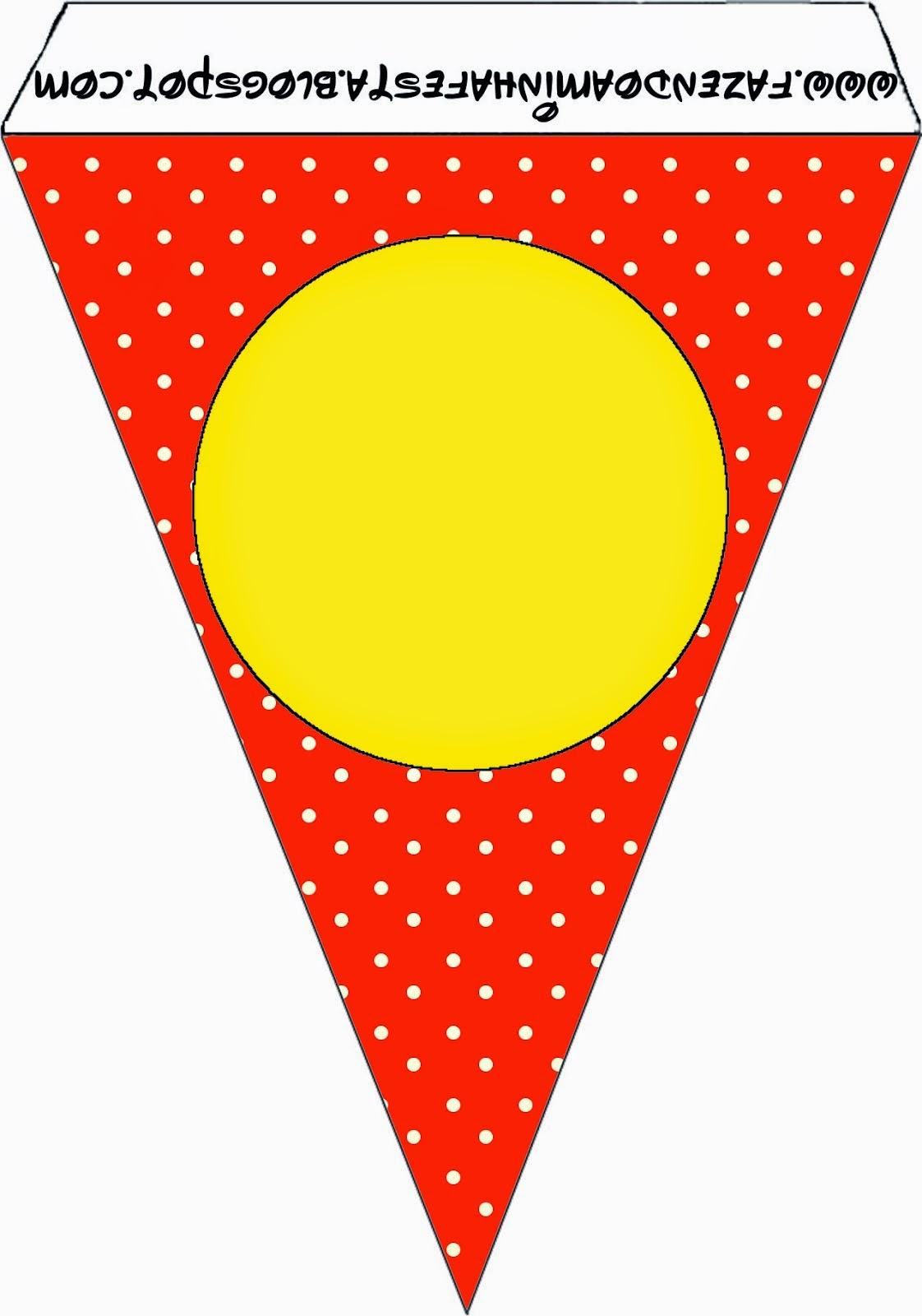 Banderines para Imprimir Gratis de Rojo, Amarillo y Lunares Blancos.