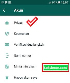 Masuk ke pengaturan privasi WhatsApp