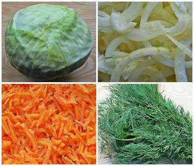 Zapiekana biała kapusta z ziemniakami, marchewką i koperkiem - składniki