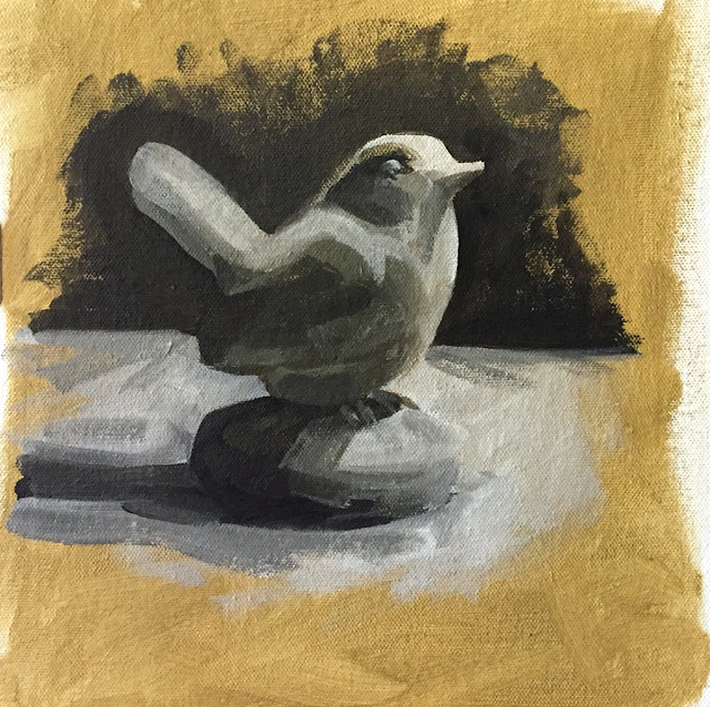 Daily Art 07-10-2018 painted bird figurine study
