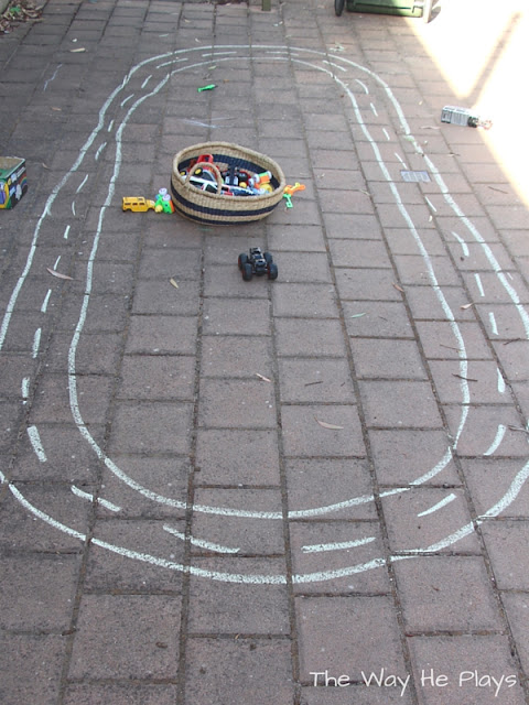 Chalk car track outside