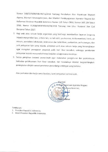 Surat MenPANRB Pelaksanaan Hari Libur Pilkada 2017