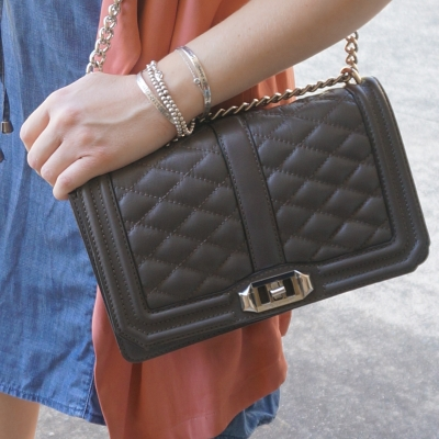 Rebecca Minkoff Love quilted cross body bag in charcoal grey | AwayFromTheBlue